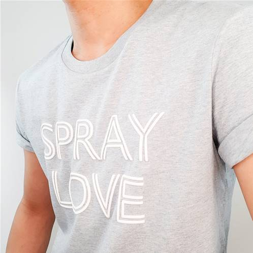 Tee shirt - Spray Love - White 3D, blue
