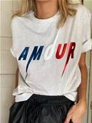Tee shirt - Amour - Métallic Blue & red, white 3D